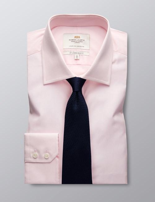 Men's  Pink Poplin Slim Fit Business Shirt - Single Cuff - Easy Iron