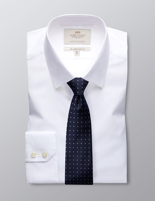Men's Dress White Poplin Slim Fit Shirt - Single Cuff - Easy Iron