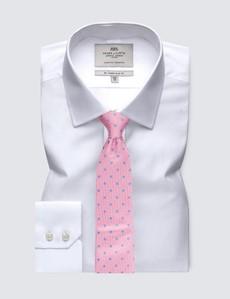 Men's Business White Poplin Slim Fit Shirt - Single Cuff - Easy Iron