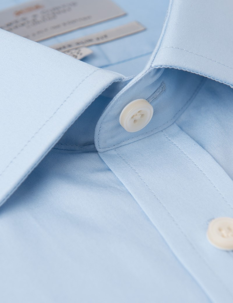 Men's Blue Slim Fit Business Shirt With Pocket - Single Cuff - Easy Iron