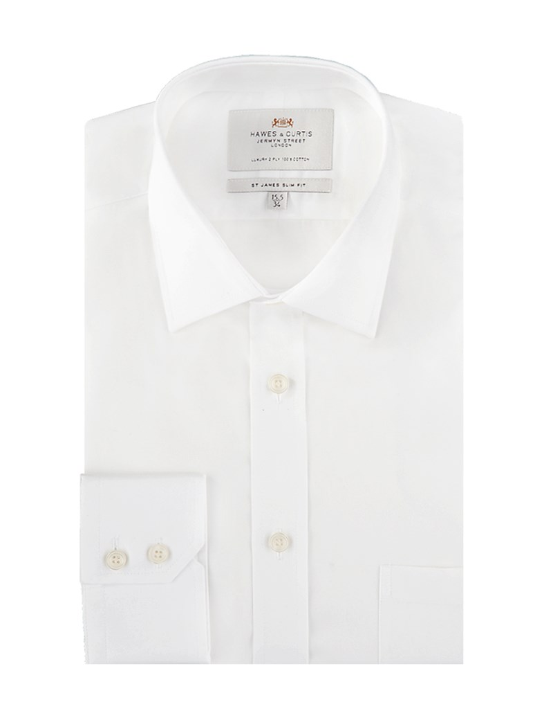 Men's White Slim Fit Dress Shirt With Pocket - Single Cuff - Easy Iron