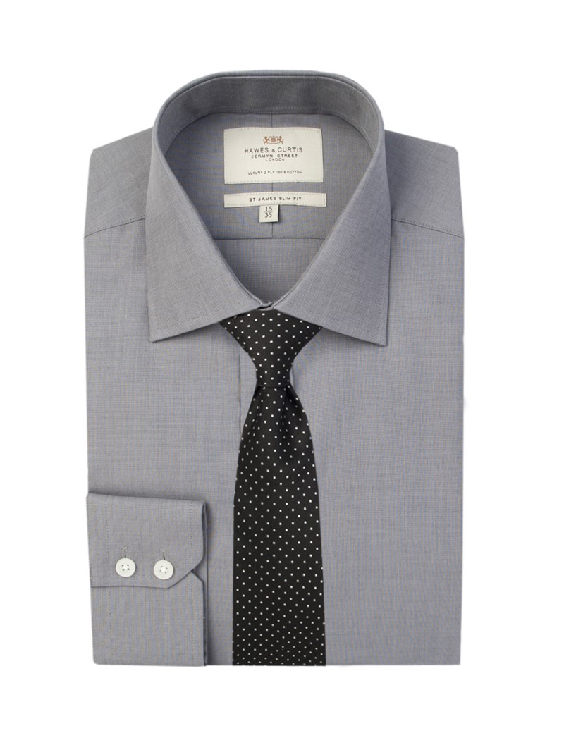 Men's Plain Grey End On End Slim Fit Business Shirt - Single Cuff