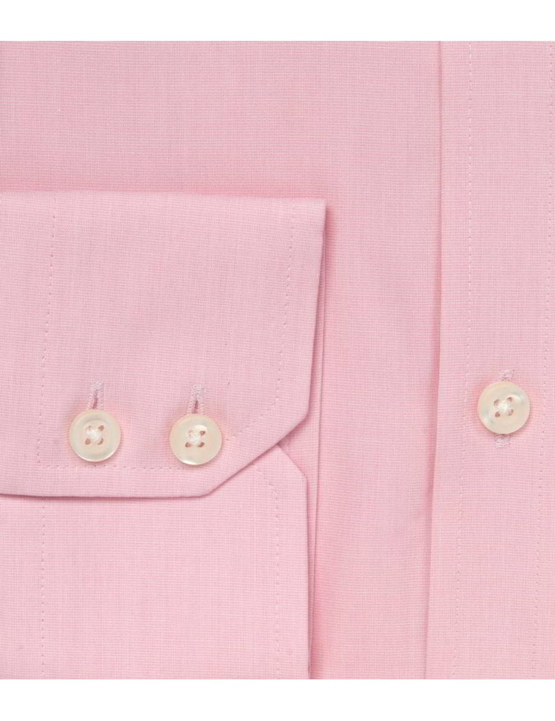 Men's Plain Pink End On End Slim Fit Business Shirt - Single Cuff