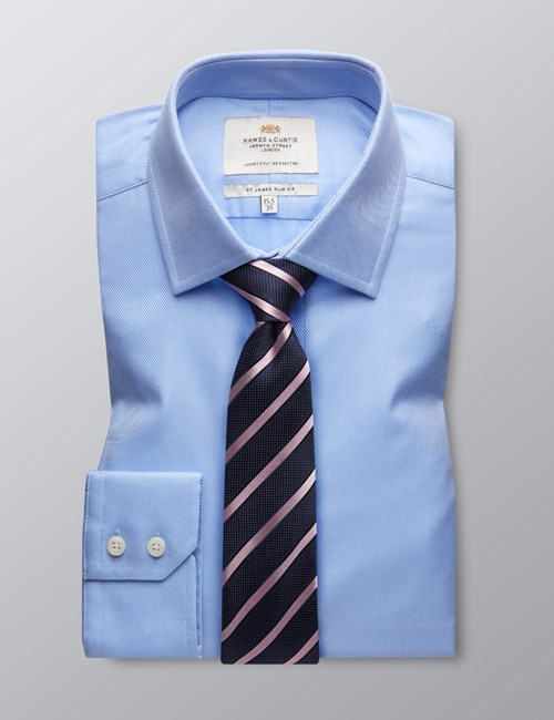 Men's Blue Twill Slim Fit Dress Shirt - Single Cuff - Easy Iron