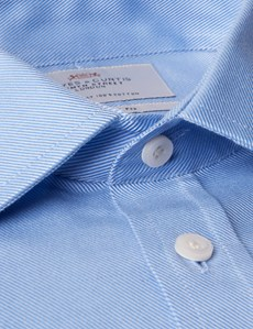 Men's Formal Blue Twill Slim Fit Shirt - Single Cuff - Easy Iron