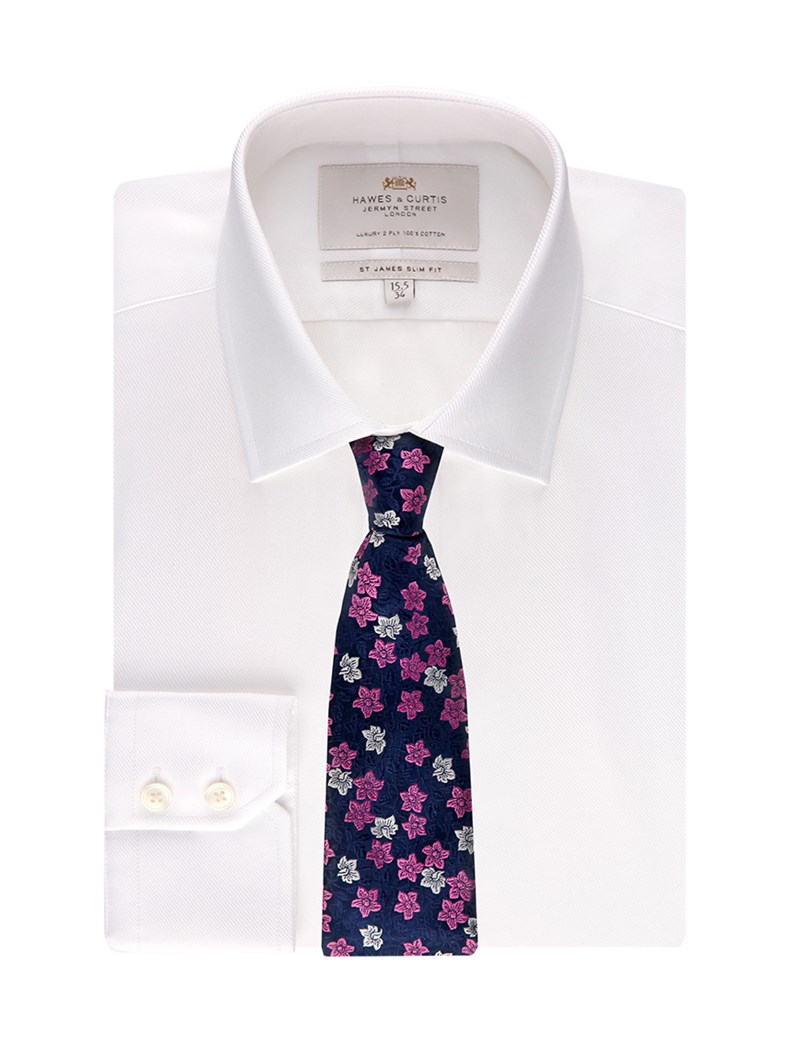Men's Formal White Twill Slim Fit Shirt - Single Cuff - Easy Iron