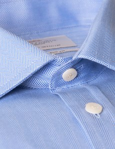 Men's  Blue Herringbone Slim Fit Business Shirt - Single Cuff - Easy Iron