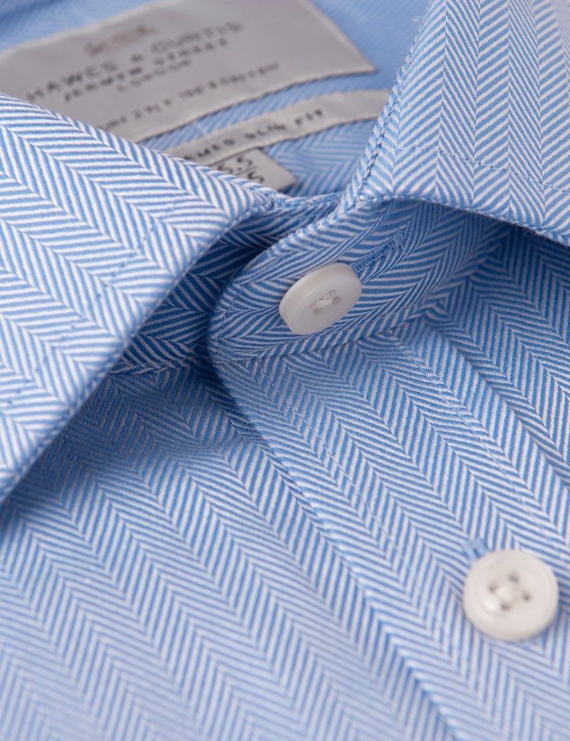 Men's Formal Blue Herringbone Slim Fit Shirt - Single Cuff - Easy Iron