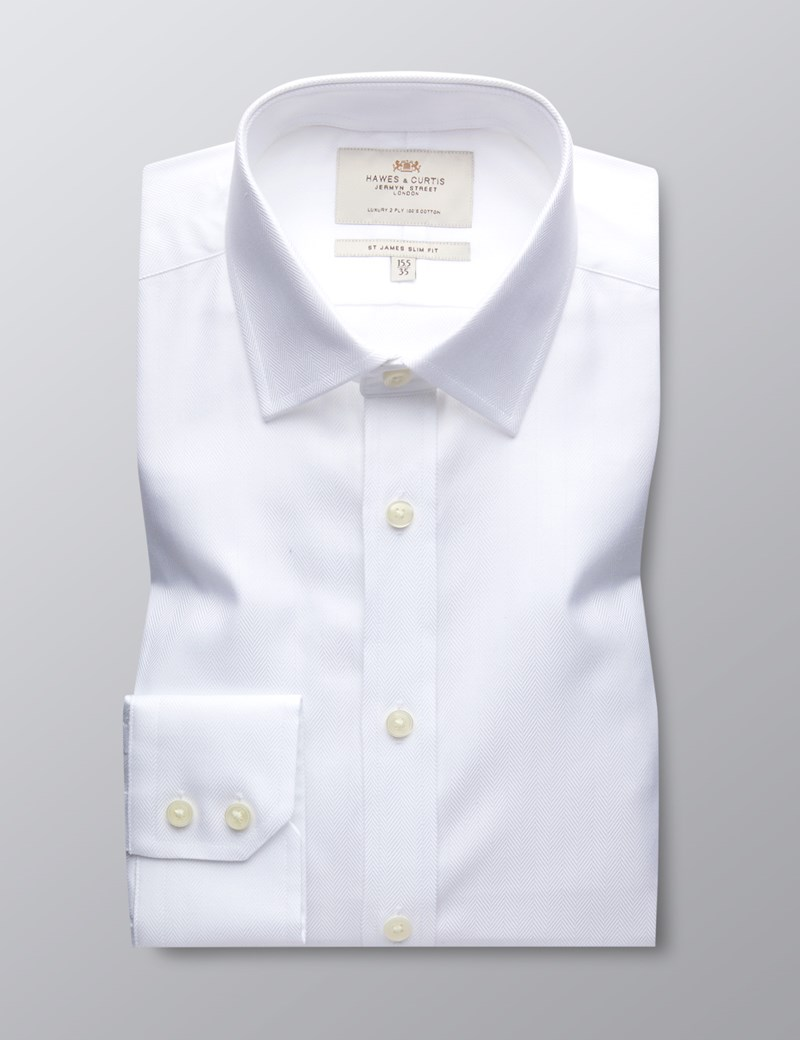 Men's White Herringbone Slim Fit Dress Shirt - Single Cuff - Easy Iron