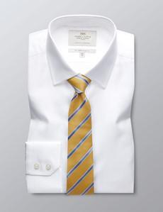 Men's White Herringbone Slim Fit Dress Shirt - Single Cuff - Easy Iron