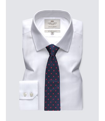 Men's Formal White Herringbone Slim Fit Shirt - Single Cuff - Easy Iron