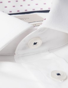 Men's Business White Slim Fit Cotton Stretch Shirt With Contrast Detail - Single Cuff