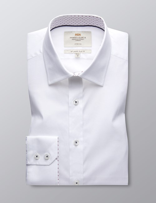Men's Dress White Slim Fit Cotton Stretch Shirt With Contrast Detail - Single Cuff