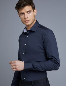 Men's Dress Navy Slim Fit Cotton Stretch Shirt With Contrast Detail -  Single Cuff