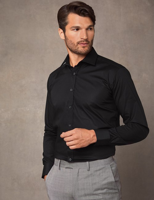 Men's Dress Black Slim Fit Cotton Stretch Shirt - Single Cuff