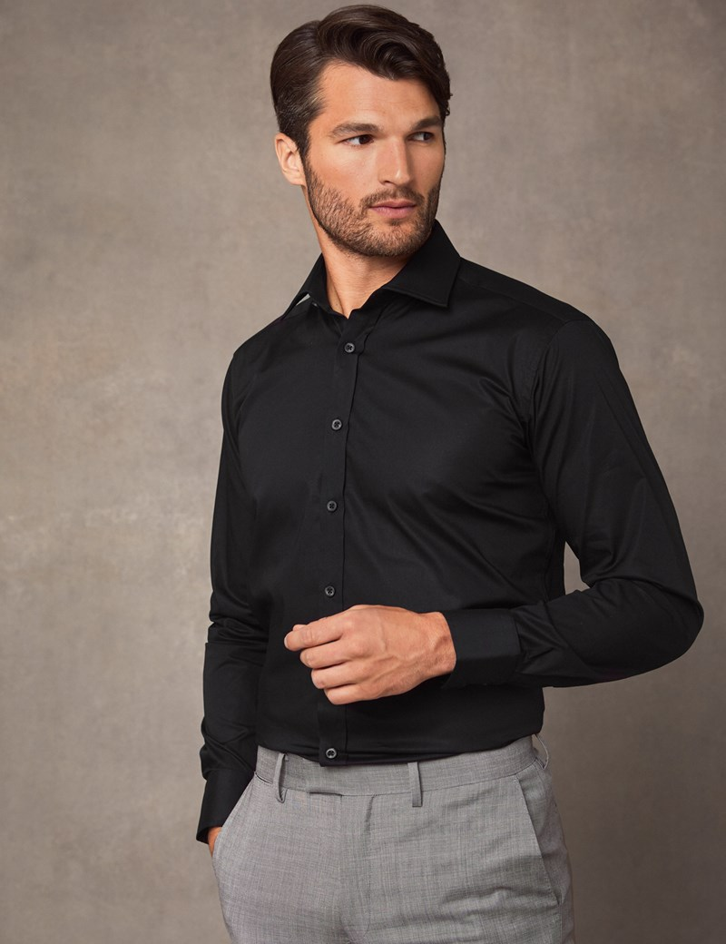 Men's Business  Black Slim Fit Cotton Stretch Shirt - Single Cuff