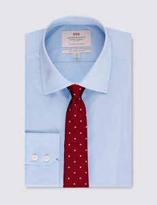 Men's Formal Blue Slim Fit Cotton Stretch Shirt - Single Cuff