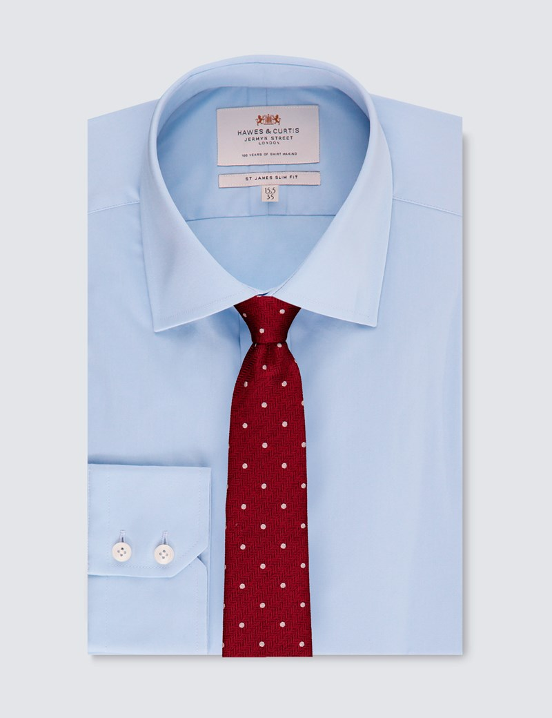 Men's Business Blue Slim Fit Cotton Stretch Shirt - Single Cuff