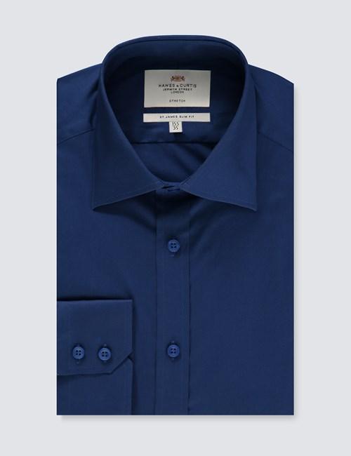Business Stretchhemd – Slim Fit – Kentkragen – Mitternachtsblau