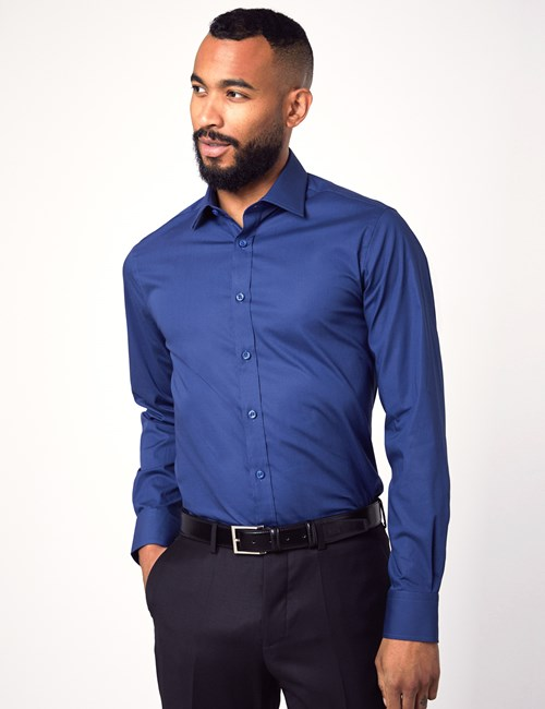 Men's Dress Midnight Blue Slim Fit Cotton Stretch Shirt - Single Cuff