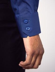 Men's Dress Midnight Blue Slim Fit Cotton Stretch Shirt - Single Cuff