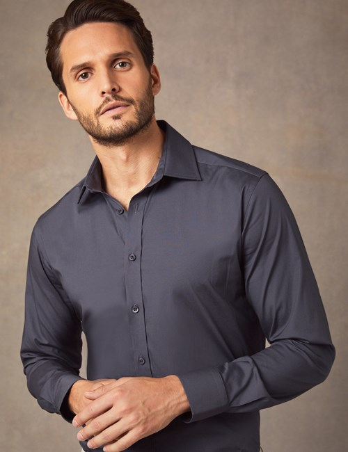Men's Business Pewter Slim Fit Cotton Stretch Shirt - Single Cuff