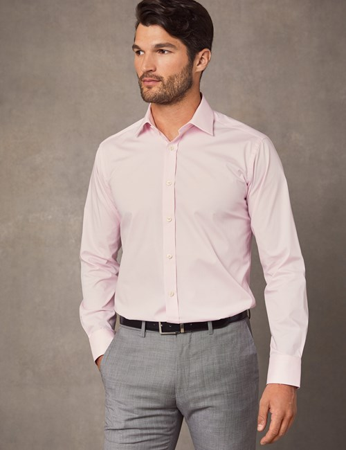 Men's Dress Pink Slim Fit Cotton Stretch Shirt - Single Cuff