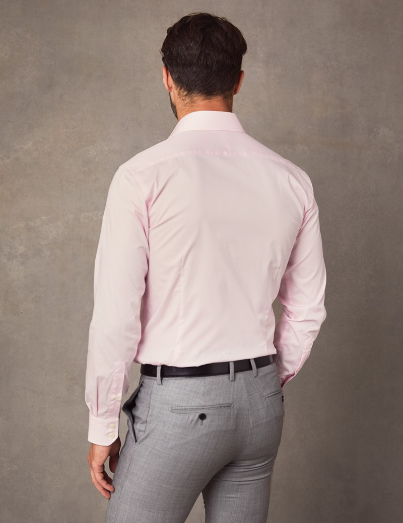 Men's Business Pink Slim Fit Cotton Stretch Shirt - Single Cuff