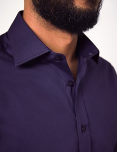 Men's Dress Grape Purple Slim Fit Cotton Stretch Shirt - Single Cuff