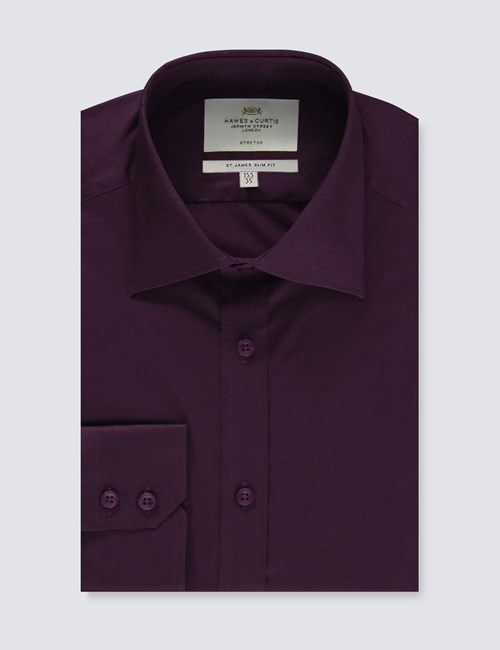 Men's Dress Dark Purple Slim Fit Cotton Stretch Shirt - Single Cuff