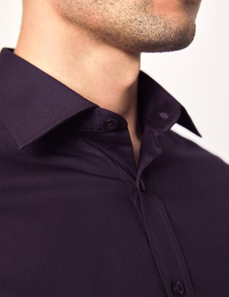 Men's Dress Dark Purple Slim Fit Cotton Stretch Shirt - Single Cuff