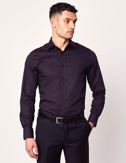 Men's Formal Dark Purple Slim Fit Cotton Stretch Shirt - Single Cuff