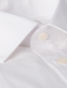 Men's Formal White Slim Fit Cotton Stretch Shirt - Single Cuff