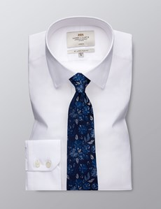 Men's Business White Slim Fit Cotton Stretch Shirt - Single Cuff