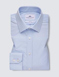 Men's Light Blue Slim Fit Travel Shirt - Single Cuff
