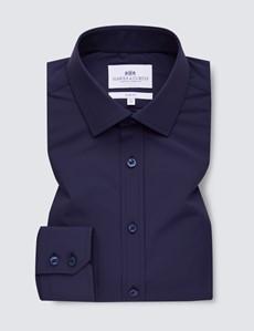 Men's Navy Slim Fit Travel Shirt - Single Cuff