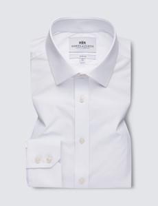 Men's White Slim Fit Travel Shirt - Single Cuff