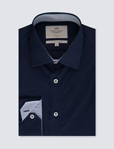 Men's Formal Navy Slim Fit Cotton Stretch Shirt -  Single Cuff