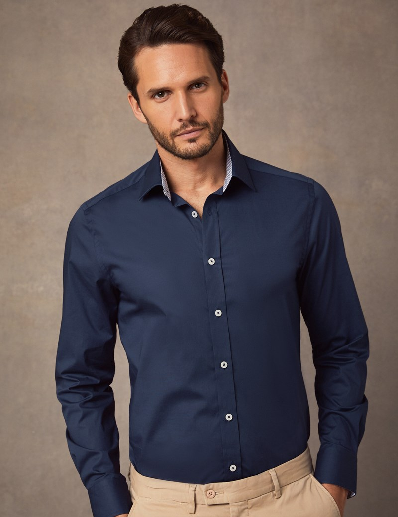 Men's Formal Navy Slim Fit Cotton Stretch Shirt -  Single Cuff