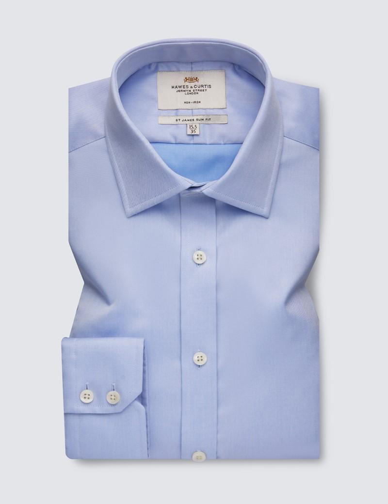 Men's Dress Blue Fine Twill Slim Fit Shirt - Single Cuff - Non Iron