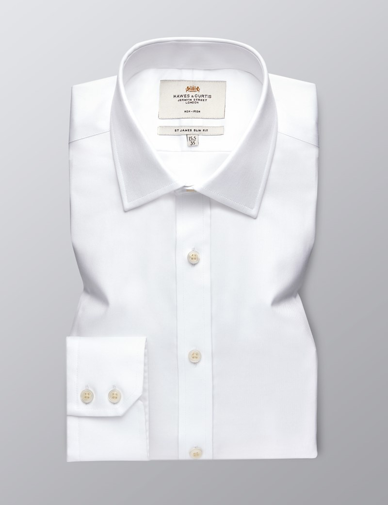 Men's White Twill Slim Fit Formal Shirt - Single Cuff - Non Iron