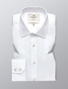 Men's Dress White Fine Twill Slim Fit Shirt - Single Cuff - Non Iron