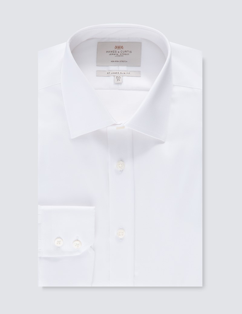 Men's Formal White Slim Fit Cotton Stretch Shirt - Single Cuff - Non Iron