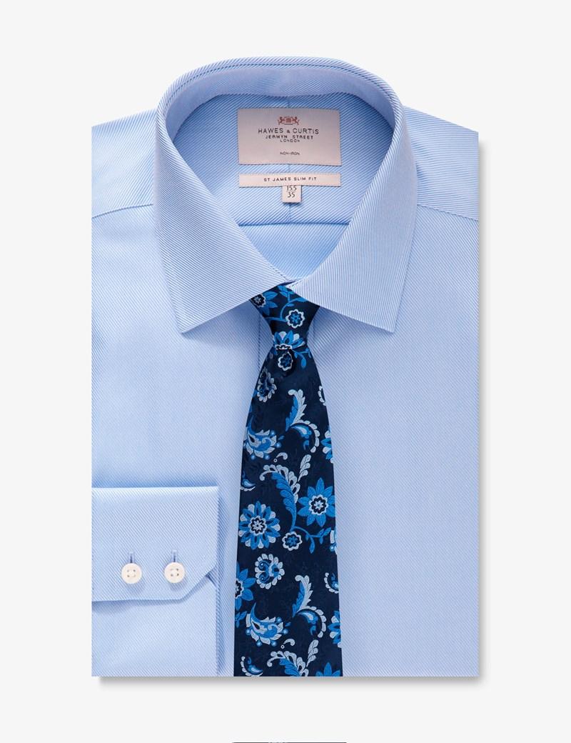 Men's Business Blue Twill Slim Fit Shirt - Single Cuff - Non Iron