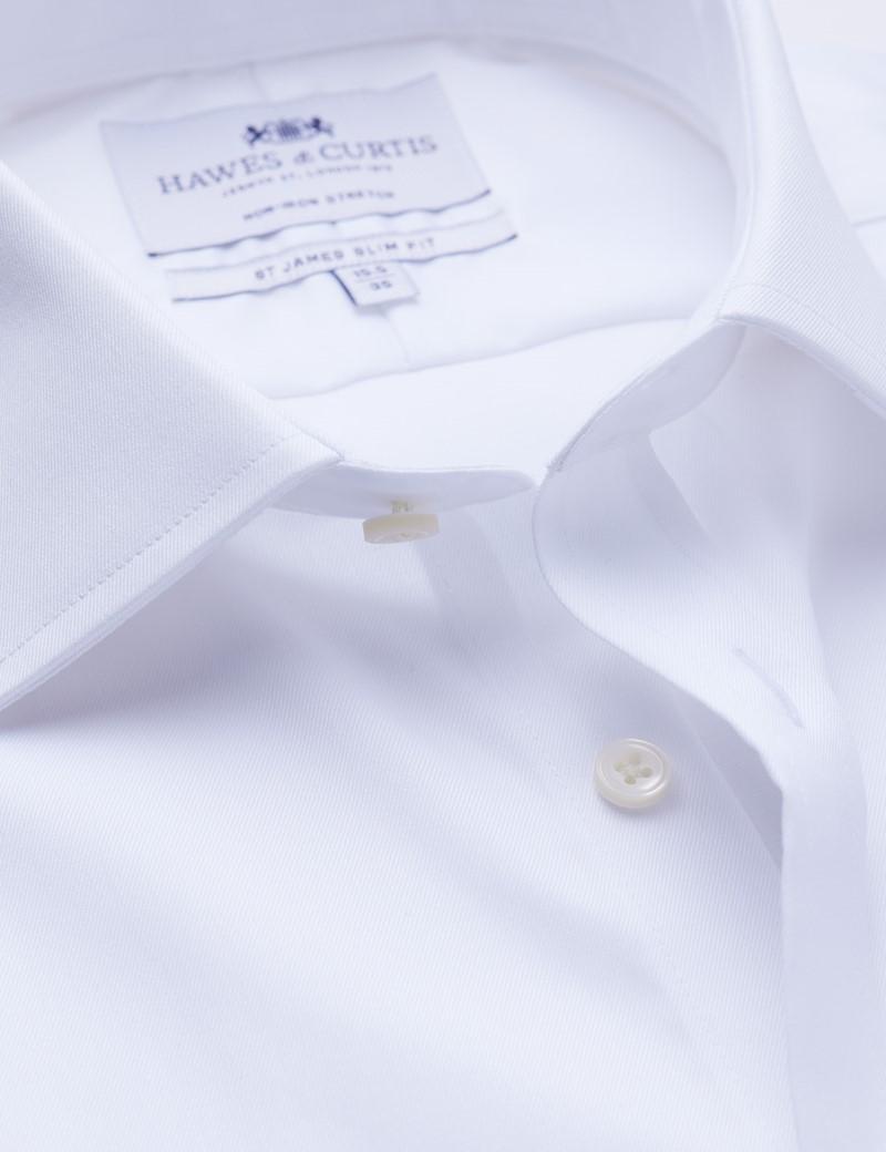 Men's Formal White Twill Slim Fit Shirt - Single Cuff - Non Iron