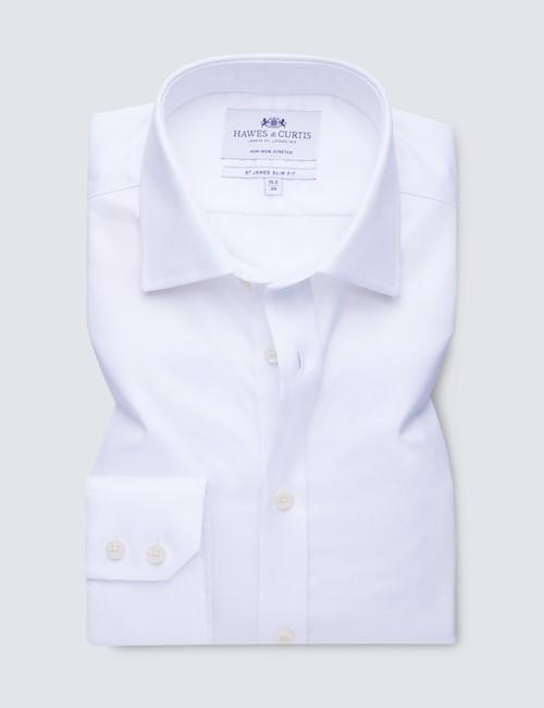 Men's Dress White Twill Slim Fit Shirt - Single Cuff - Non Iron