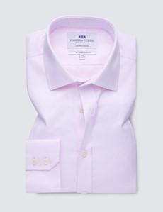 Men's Business Pink Herringbone Slim Fit Shirt - Single Cuff - Non Iron