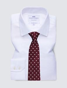 Men's Business White Herringbone Slim Fit Shirt - Single Cuff - Non Iron