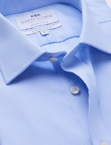 Men's Business Blue Pique Slim Fit Shirt - Single Cuff - Non Iron