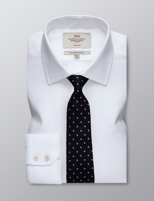 Men's Dress White Slim Fit Shirt - Single Cuff - Non Iron